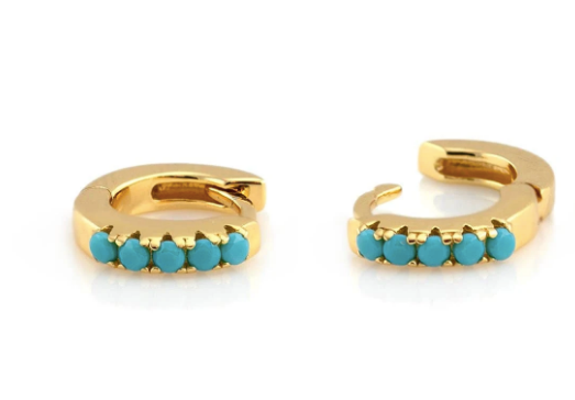 Turquoise Huggie Hoop  Earrings - Gold