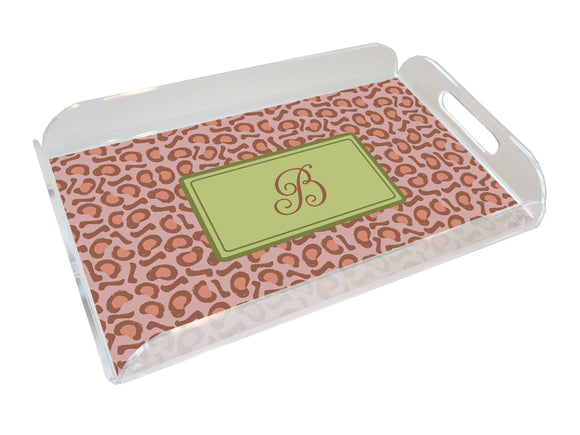 leopard personalized lucite tray
