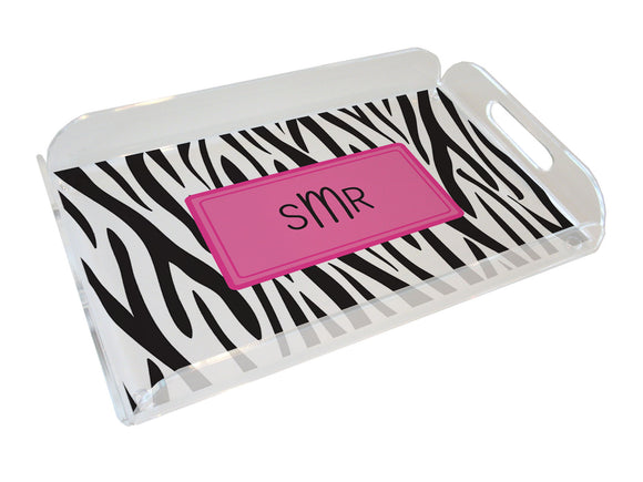 black zebra personalized lucite tray