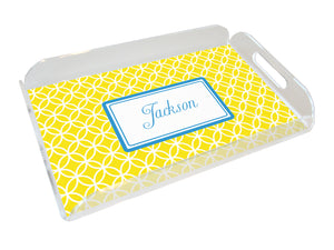 yellow clover personalized lucite tray