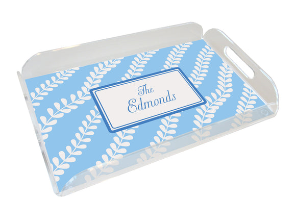 blue vines personalized lucite tray