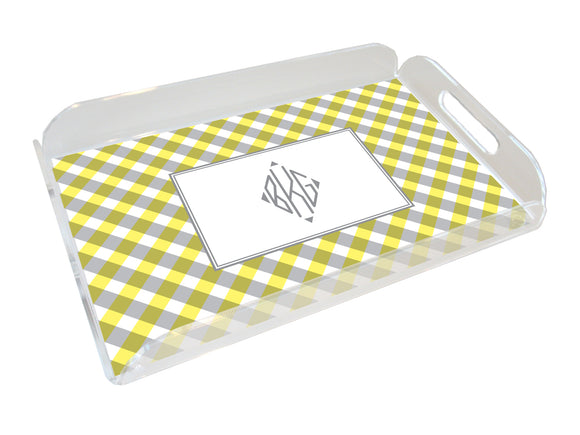 yellow gingham personalized lucite tray