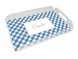 blue gingham personalized lucite tray