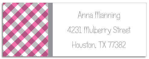 pink gingham address labels