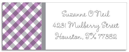 purple gingham address labels