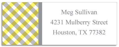 yellow gingham address labels