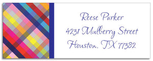 bright gingham address labels