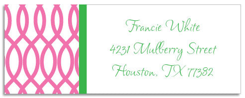 garden gate pink address labels