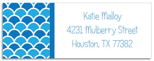 shells blue address labels