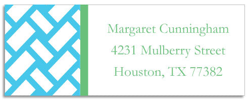 aqua basketweave address labels