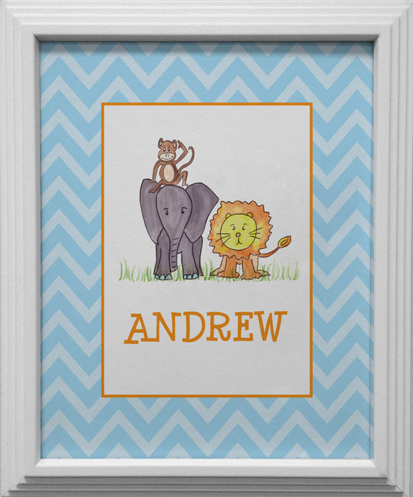 zoo friends kids wall art