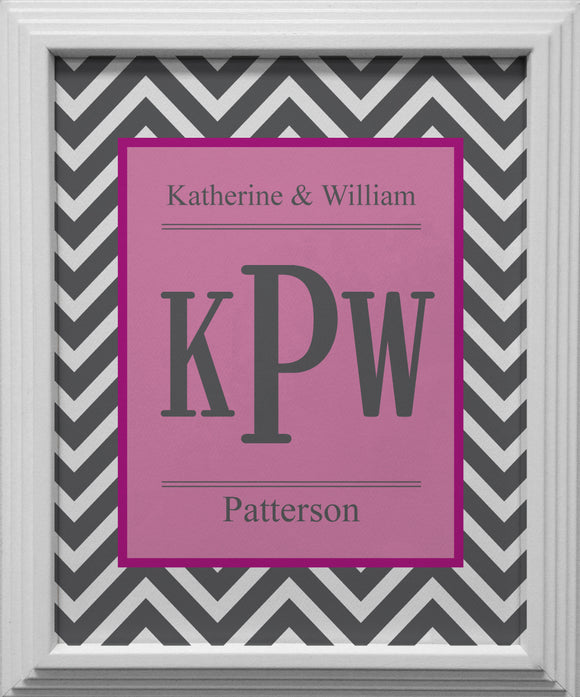 grey chevron personalized wall art
