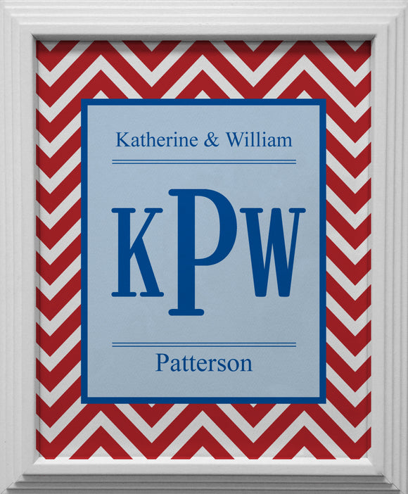 red chevron personalized wall art