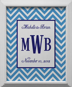 blue chevron personalized wall art