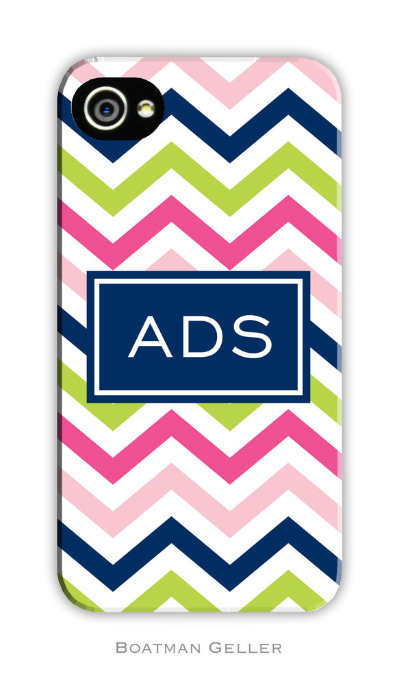 Chevron Pink, Navy & Lime Cell Phone Case