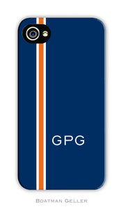 Racing Stripe Navy & Orange Cell Phone Case