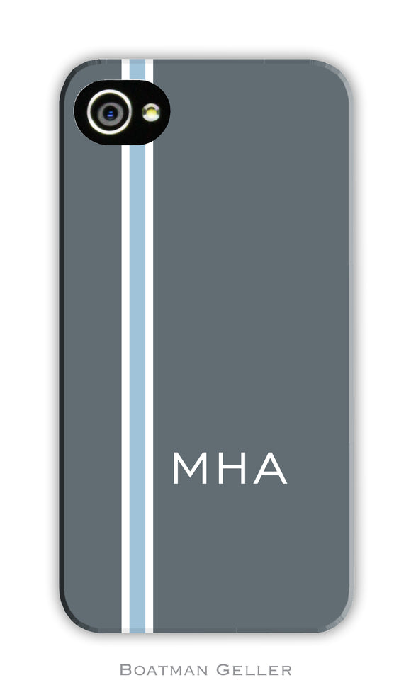 Racing Stripe Charcoal & Light Blue Cell Phone Case