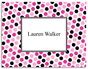 pink black dots folded notecards