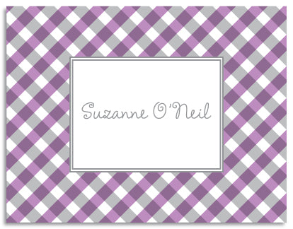 purple gingham folded notecards