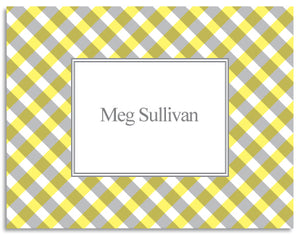 yellow gingham folded notecards