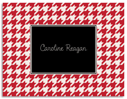 red houndstooth folded notecards