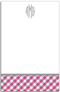 pink gingham personalized notepad