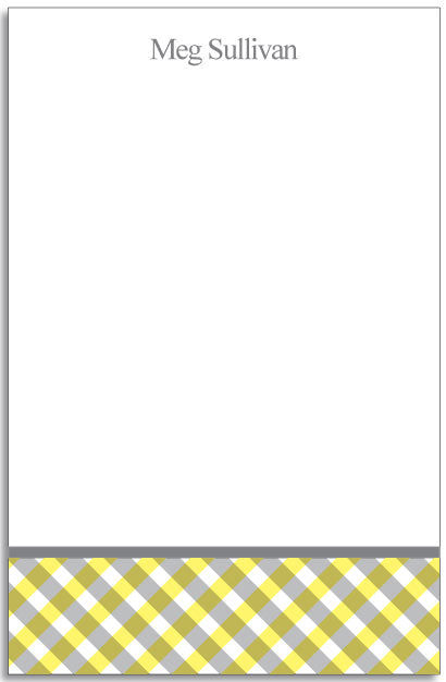 yellow gingham personalized notepad