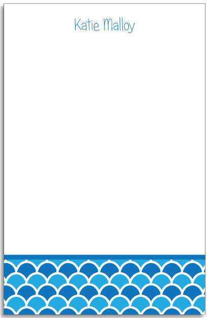 shells blue personalized notepad