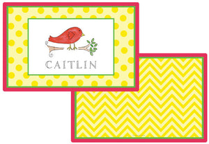 little birdie personalized kids placemat