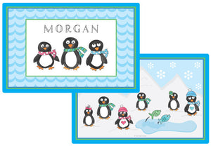 penguin parade personalized kids placemat
