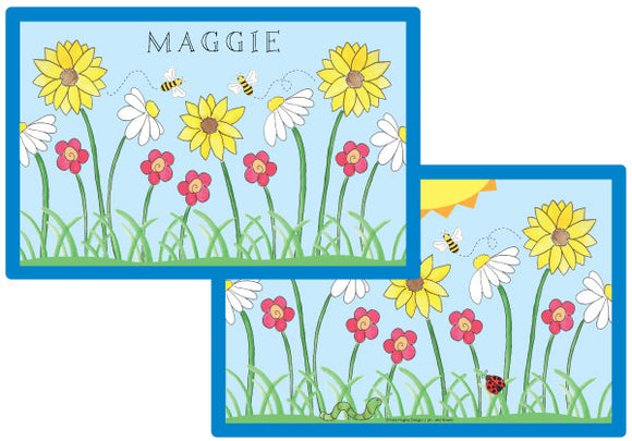 wildflowers personalized kids placemat