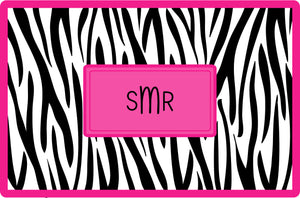 black zebra personalized placemats