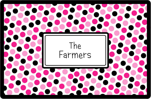 pink black dots personalized placemats