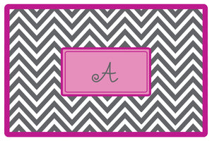 grey chevron personalized placemats