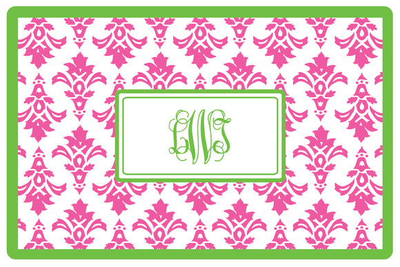 pink damask personalized placemats
