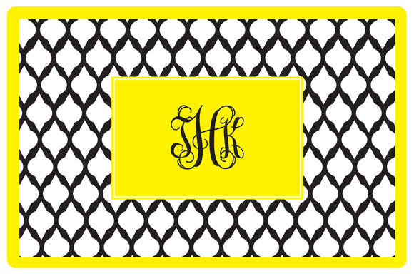 black lattice personalized placemats