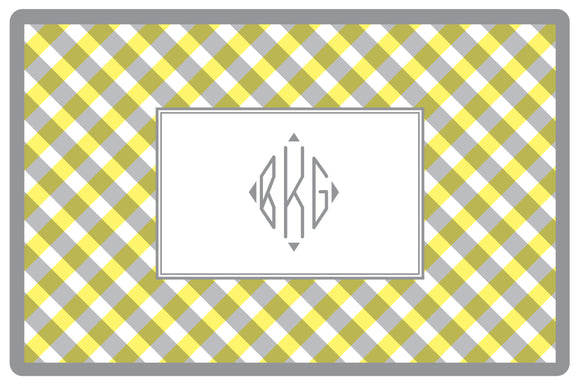 yellow gingham personalized placemats