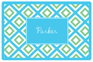 geo blue personalized placemats