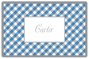 blue gingham personalized placemats