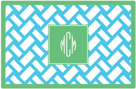 aqua basketweave personalized placemats