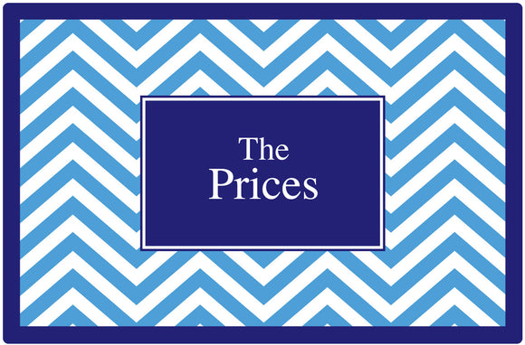 blue chevron personalized placemats