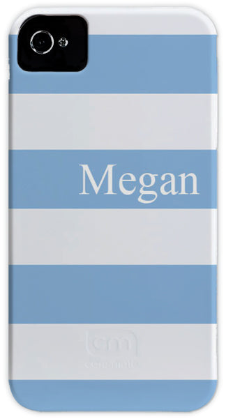 powder blue & white stripe cell phone case