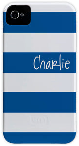blue & white stripe cell phone case
