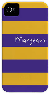 purple & gold stripe cell phone case