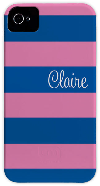 pink & blue stripe cell phone case