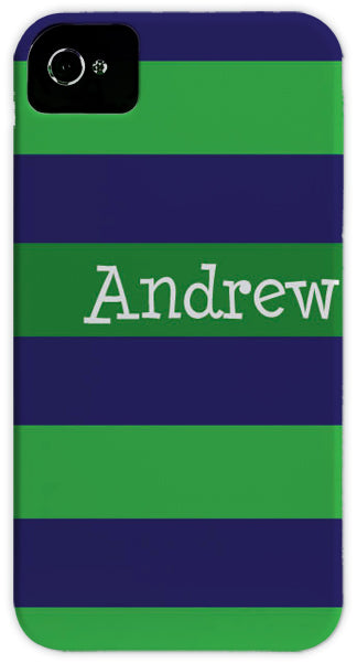 blue & green stripe cell phone case