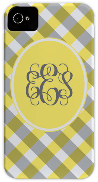 yellow gingham cell phone case