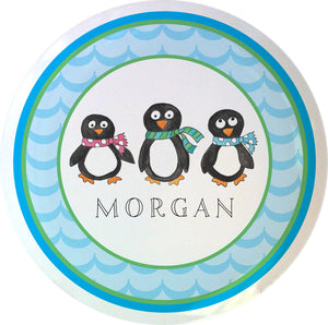 penguin parade personalized kids plate