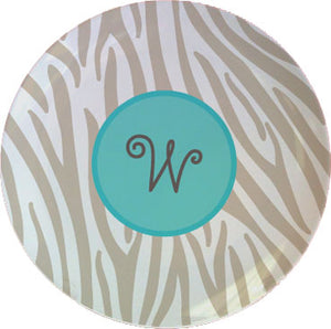 grey zebra personalized plate
