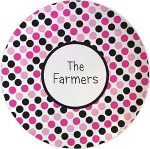 pink black dots personalized plate
